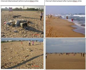 Cyclone Nilam strikes Chennai: Before and After Images of Marina Beach